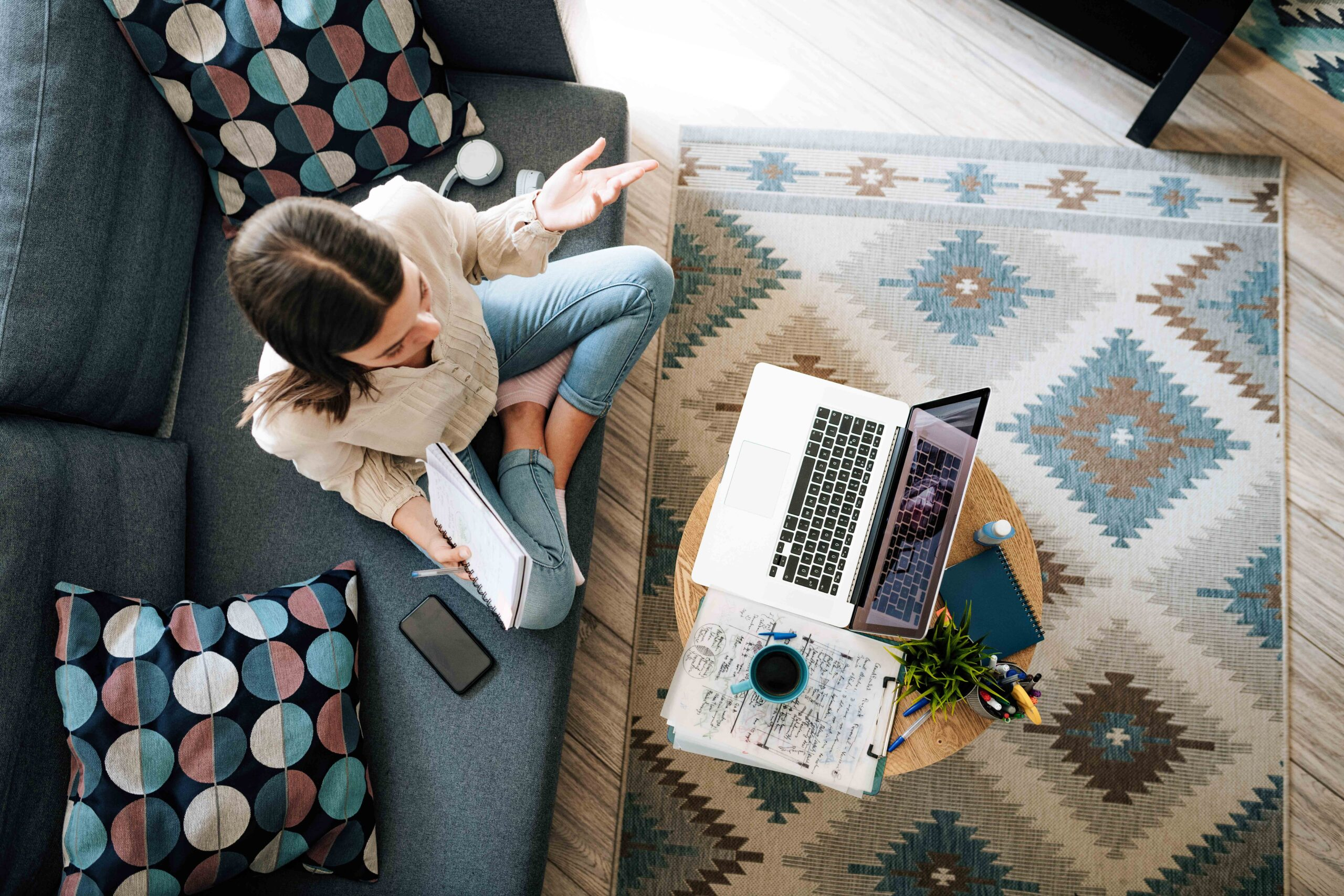 Young woman at home, working and studying from home