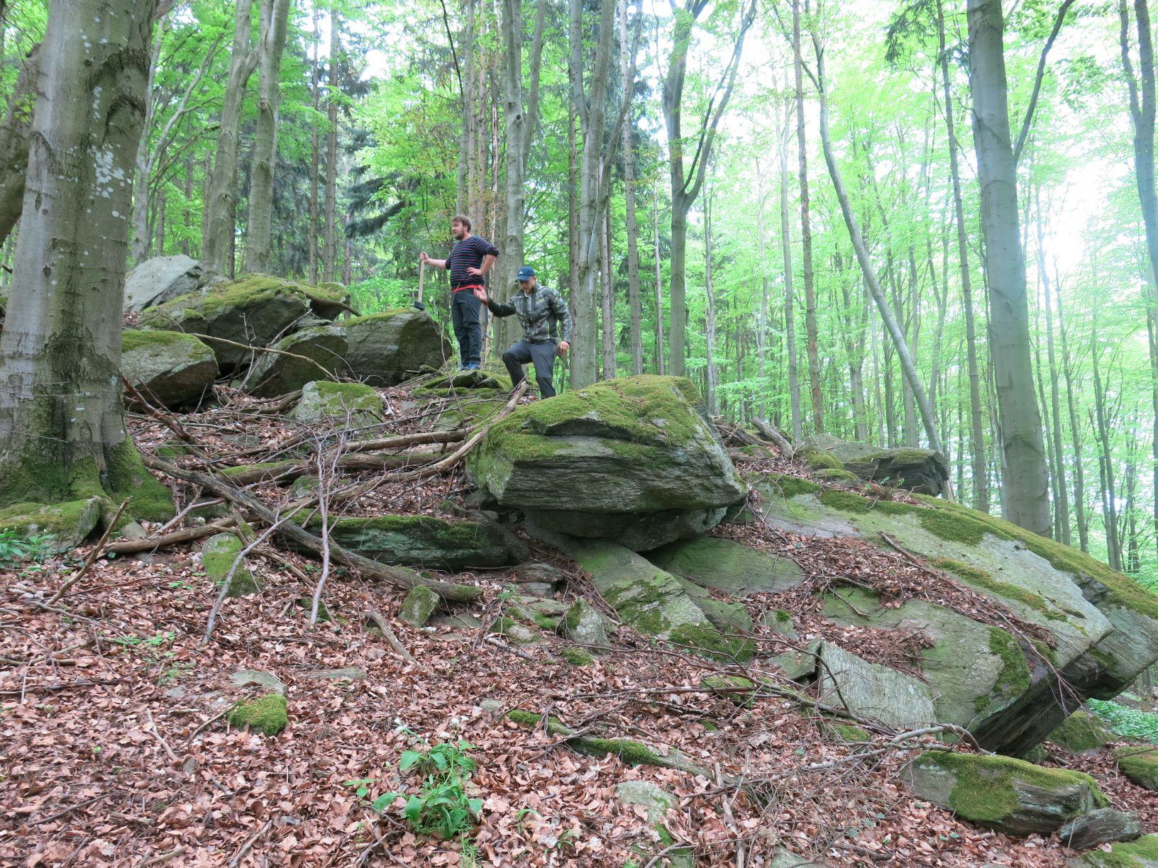 v.l.n.r. Martin Lindner und Daniel Reither an einem der Aufschlüsse im Niederösterreichischen Waldviertel